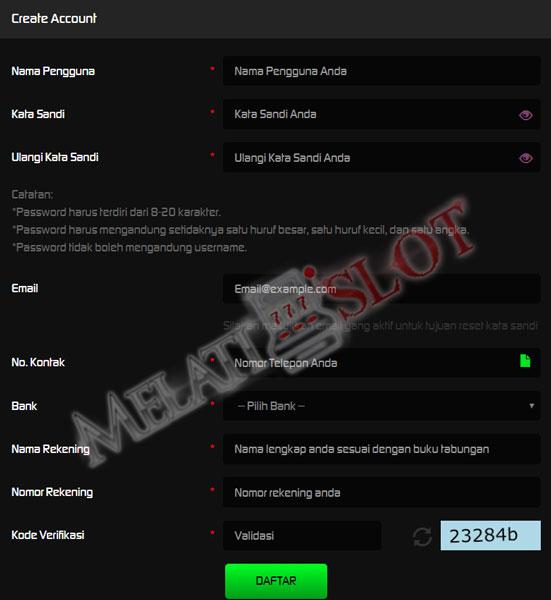 Formulir registrasi MelatiSlot